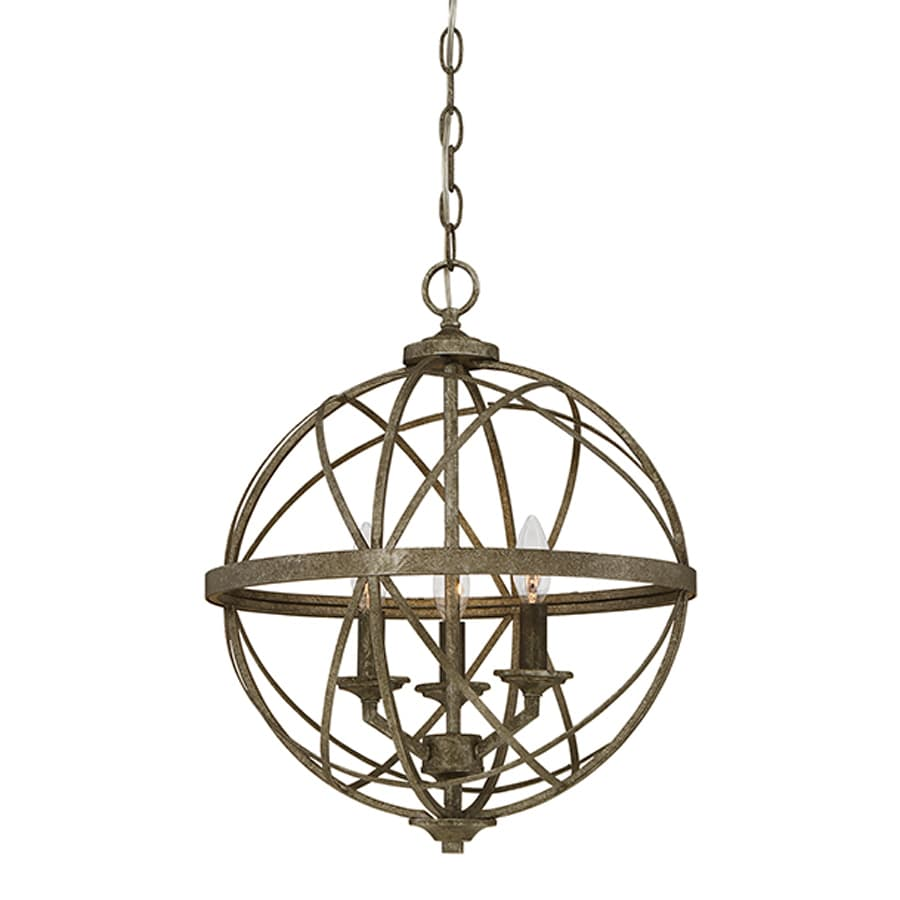 Millennium Lighting Lakewood 16-in Antique Silver Industrial Single Orb Pendant