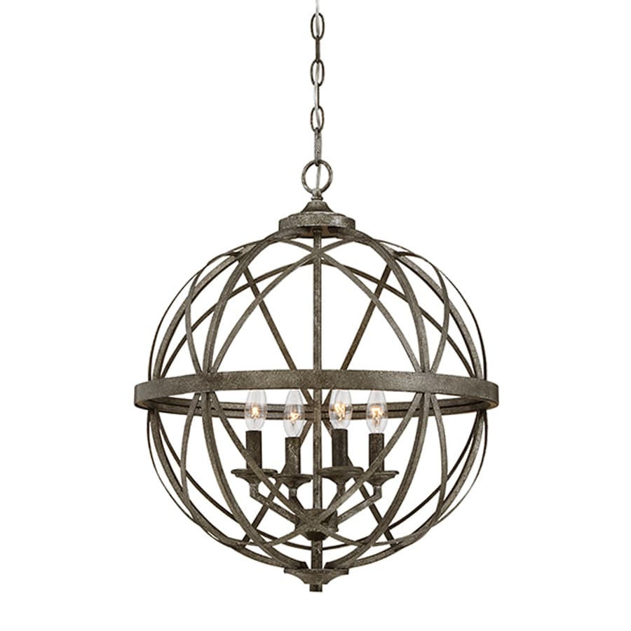 Millennium Lighting Lakewood 20-in Antique Silver Industrial Single Orb Pendant