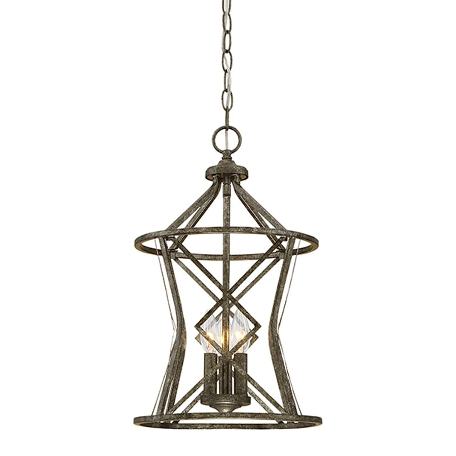 Millennium Lighting Lakewood 12-in Antique Silver Vintage Single Cage Pendant