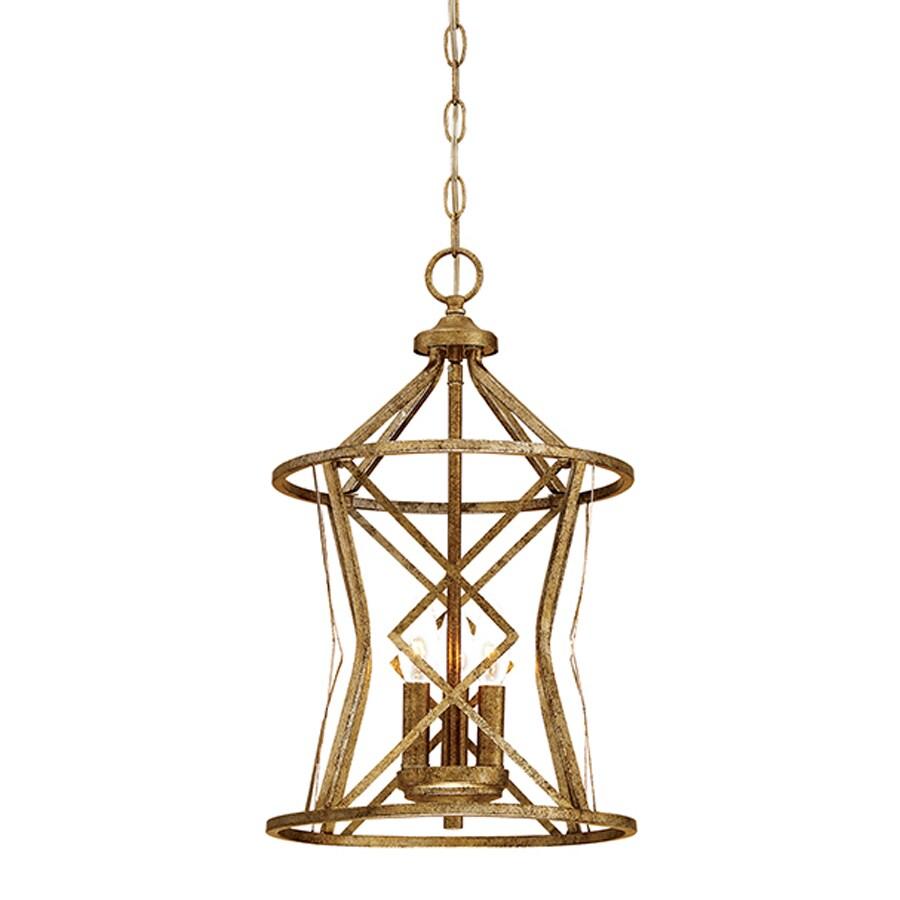 Millennium Lighting Lakewood 12-in Vintage Gold Vintage Single Cage Pendant