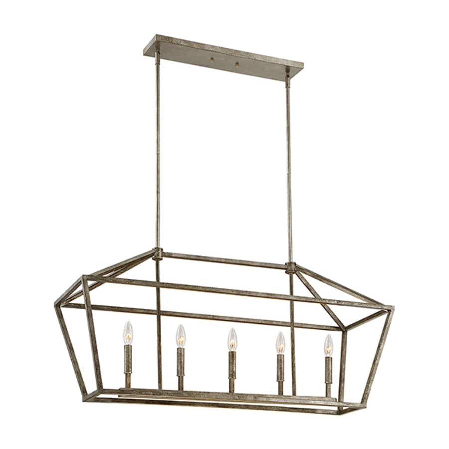 Millennium Lighting 40-in W 5-Light Antique Silver Kitchen Island Light
