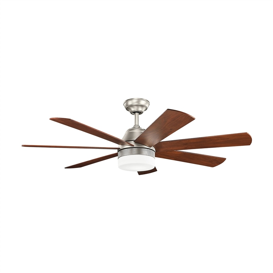 7 Blade Ceiling Fan: Kichler Lighting Ellys 56-in Brushed Nickel Downrod Mount Indoor Ceiling Fan  with LED Light,Lighting