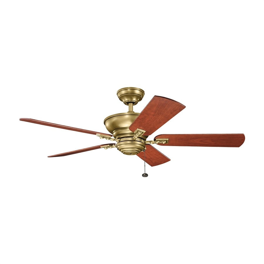 Kichler Lighting Graystone 52-in Natural Brass Downrod Mount Indoor Ceiling Fan (5-Blade) ENERGY STAR