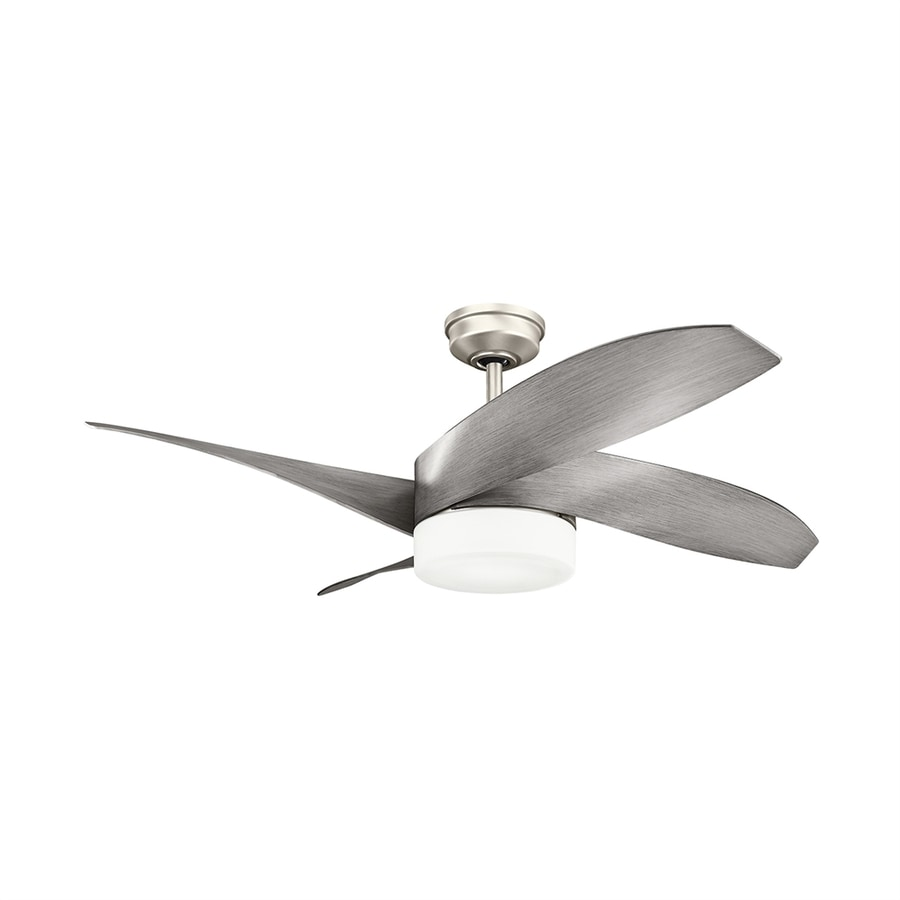 Kichler Lighting Nadia 52-in Brushed Nickel Downrod Mount Indoor Ceiling Fan with LED Light Kit and Remote (4-Blade)