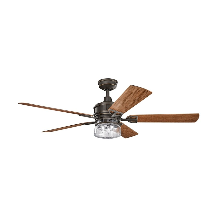 Kichler Lyndon 60-in Olde Bronze Standard Indoor/Outdoor Residential Downrod Mount Ceiling Fan with Light Kit and Remote Control (5-Blade)