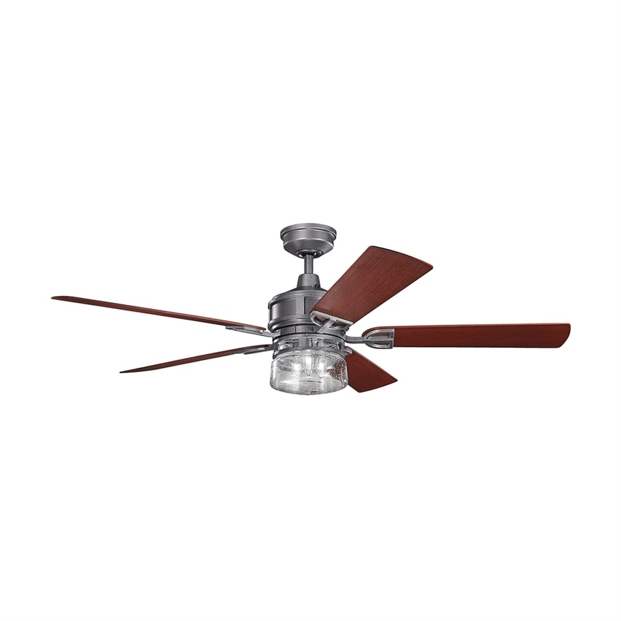 Kichler Lyndon 60 In Weathered Steel Powder Coat Indoor Outdoor Ceiling Fan With Light Kit And