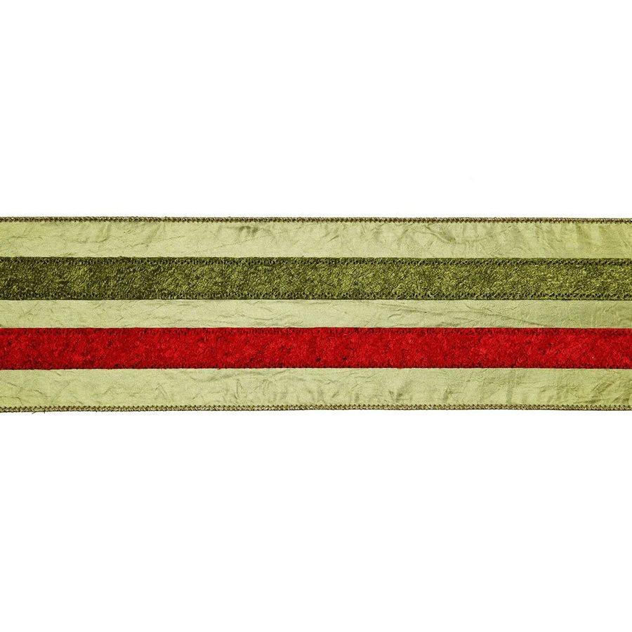 Vickerman 4-in W x 30-ft L Sage Red-Green Striped Ribbon