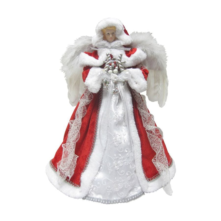 Santa's Workshop 16-in Red and Silver Polyester Angel Christmas Tree Topper