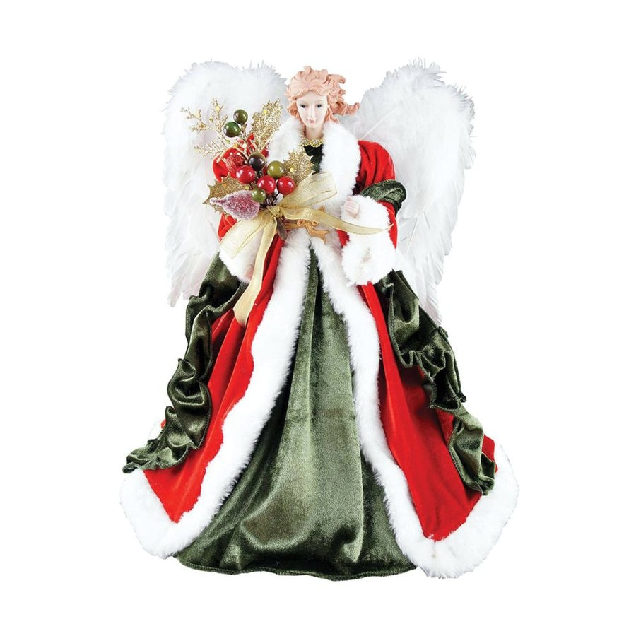 Christmas Tree Angel Tree Topper: Santa's Workshop 16-in Red Polyester Angel Christmas Tree