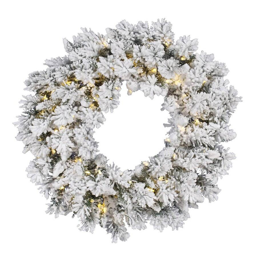 Vickerman Snow Ridge 30-in Pre-Lit Plug-In White/Green Pine Artificial Christmas Wreath with White Clear Incandescent Lights