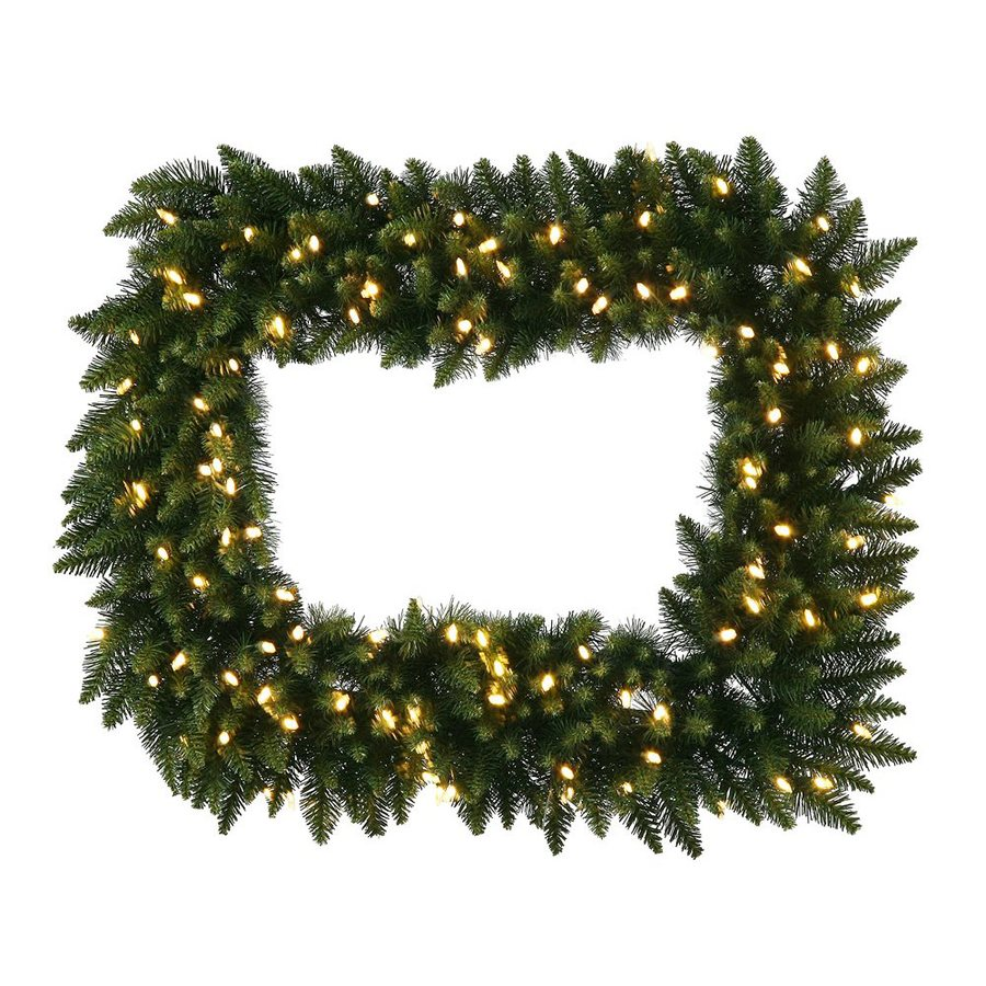 Vickerman Camdon Rectangle 36-in Pre-lit Indoor Electrical Outlet Green Camden Fir Artificial Christmas Wreath with White Warm White LED Lights