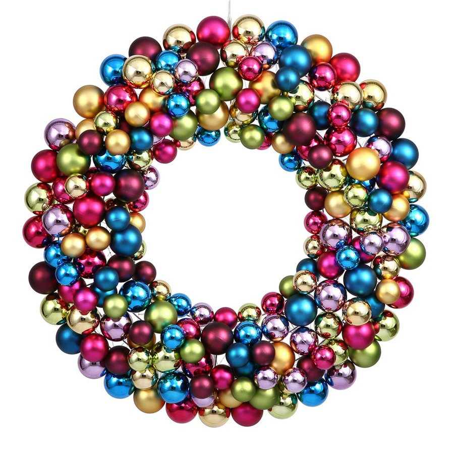 Vickerman Ball Wreath 24-in Multi Ornament Artificial Christmas Wreath