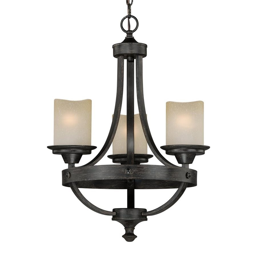 Shop Cascadia Lighting Halifax 18 In 3 Light Aged Walnut Rustic Shaded Chande