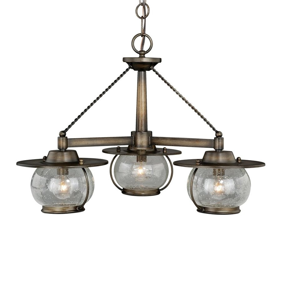 Cascadia Lighting Jamestown 24-in 3-Light Parisian Bronze Barn Seeded Glass Shaded Chandelier