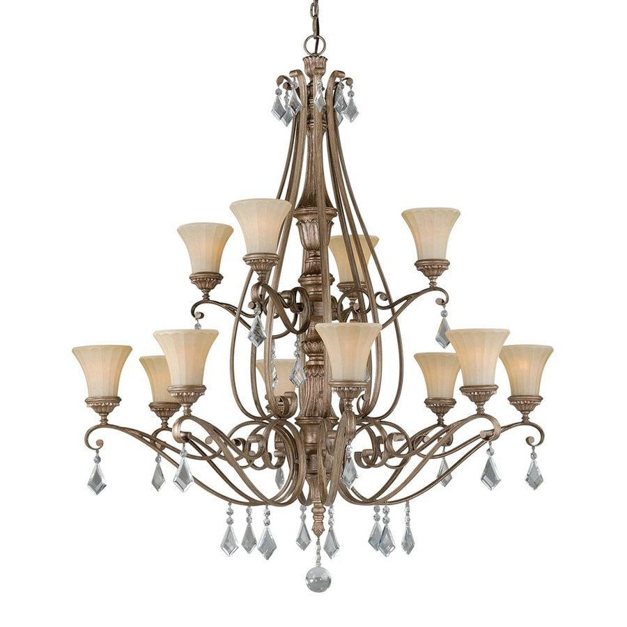 Cascadia Lighting Avenant 45.5-in 12-Light French Bronze Mediterranean Tinted Glass Tiered Chandelier