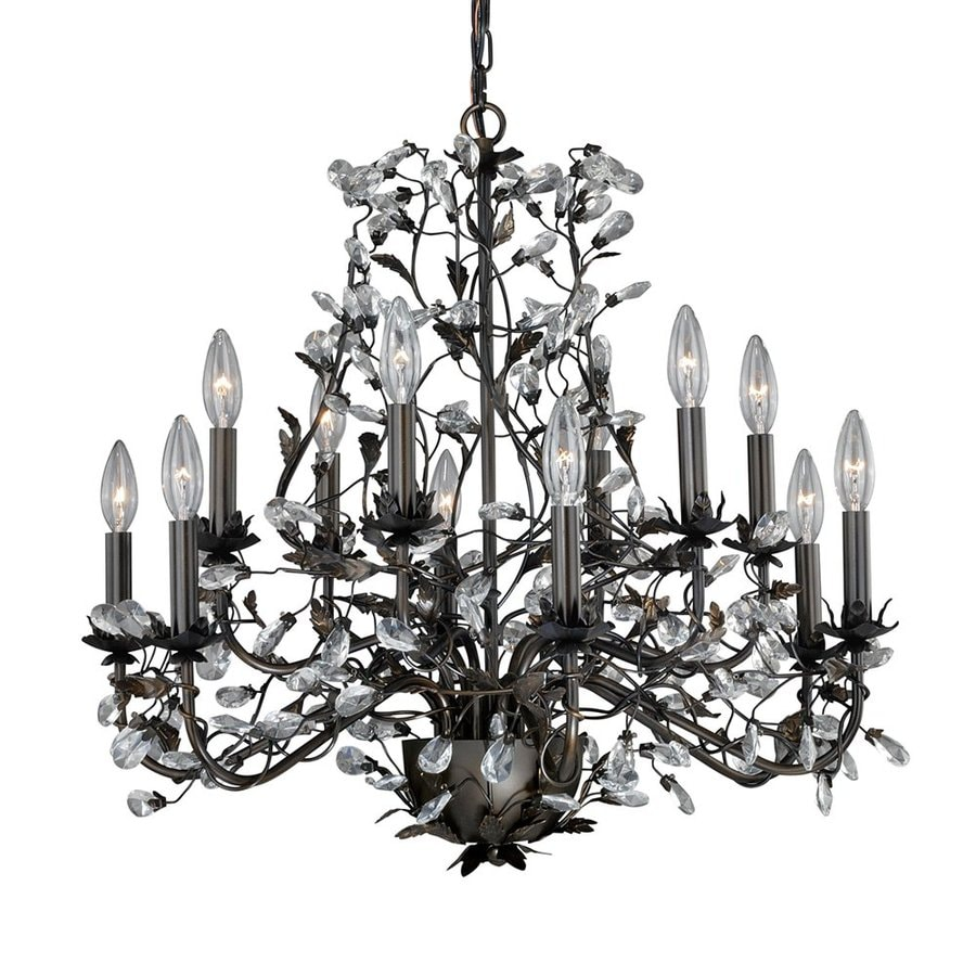 Cascadia Lighting Trellis 26.75-in 12-Light Architectural bronze Vintage Candle Chandelier