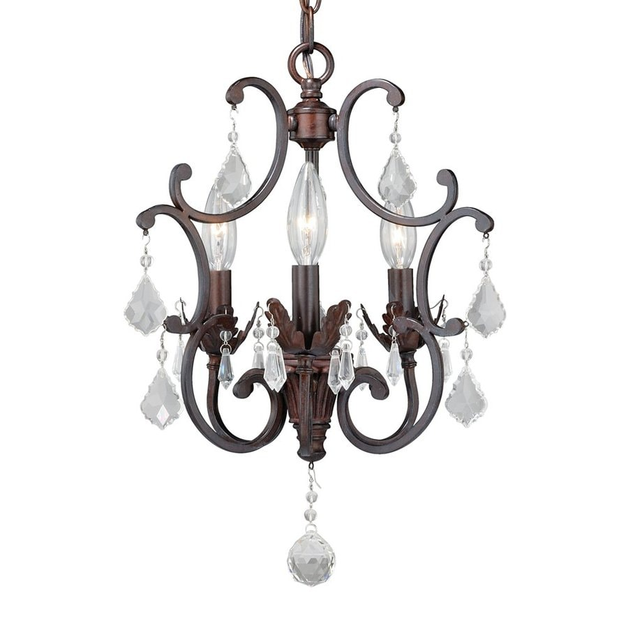 Cascadia Lighting Perouges 13-in 3-Light Weathered Patina Vintage Candle Chandelier