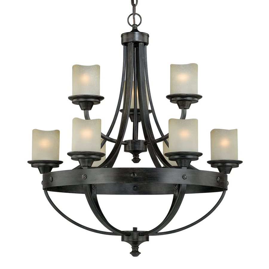 Cascadia Lighting Halifax 30-in 9-Light Black Walnut Mediterranean Tiered Chandelier