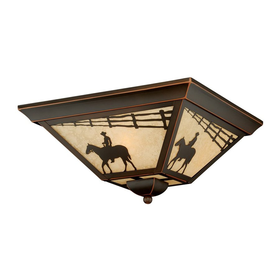 Cascadia Lighting Trail 14-in W Burnished Bronze Outdoor Flush-Mount Light