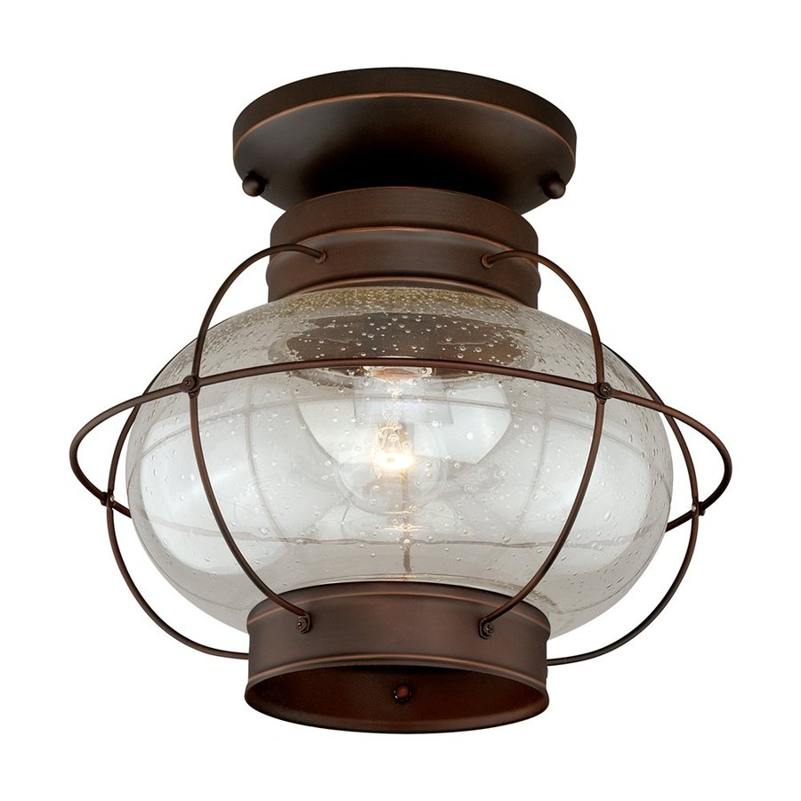 Cascadia Lighting Chatham 13-in W Burnished Bronze Outdoor Flush-Mount Light