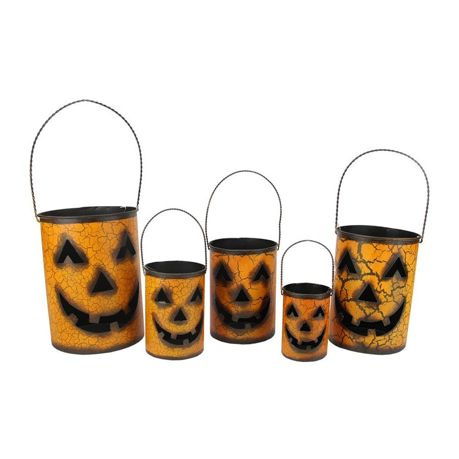 Christmas Central Set of 5 Metal Tabletop Jack-O-Lantern Lanterns