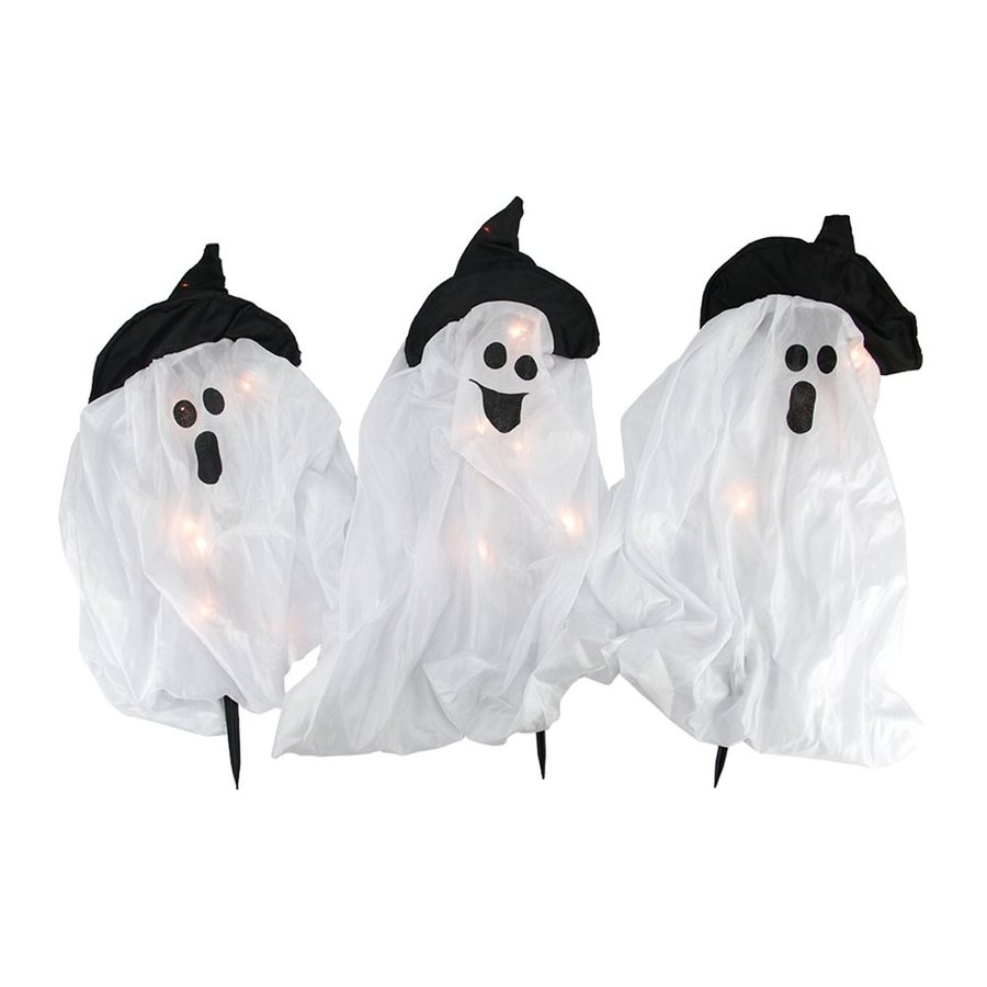 Christmas Central 3-Marker White Incandescent Plug-In Ghost Halloween Pathway Markers