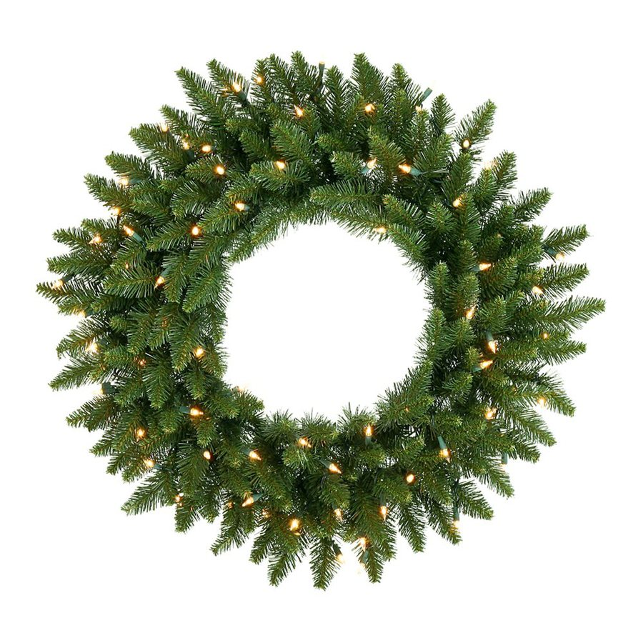 Christmas Central 60-in Pre-Lit Plug-In Camden Fir Artificial Christmas Wreath with White Clear Incandescent Lights
