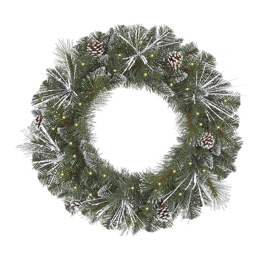 Christmas Central 36-in Pre-lit Indoor Electrical Outlet Pine Artificial Christmas Wreath with White Clear Incandescent Lights