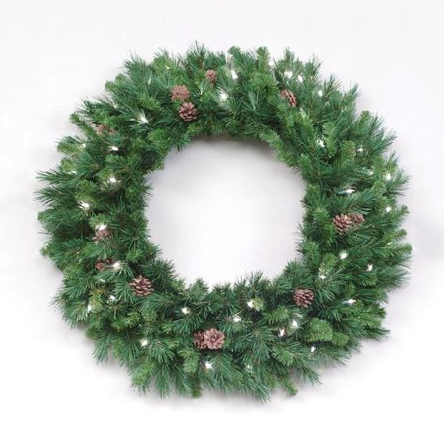 Christmas Central 30-in Pre-Lit Indoor/Outdoor Plug-In Pine Artificial Christmas Wreath with White Clear Incandescent Lights