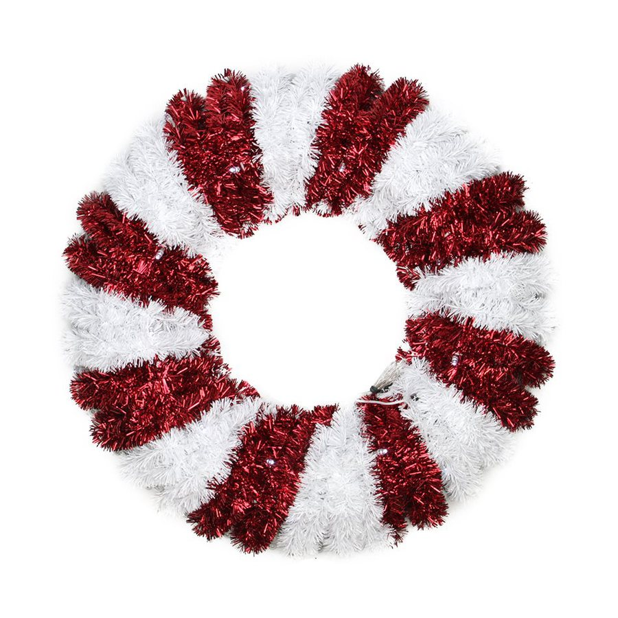 Christmas Central Peppermint Twist 18-in Un-Lit Battery-Operated Tinsel Artificial Christmas Wreath with Cool White LED Lights
