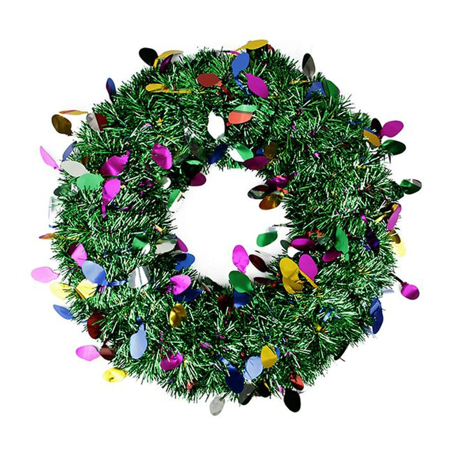 Christmas Central Festive Green 19-in Un-Lit Tinsel Artificial Christmas Wreath