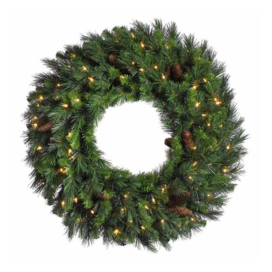 Christmas Central 48-in Pre-lit Indoor Electrical Outlet Pine Artificial Christmas Wreath with White Clear Incandescent Lights