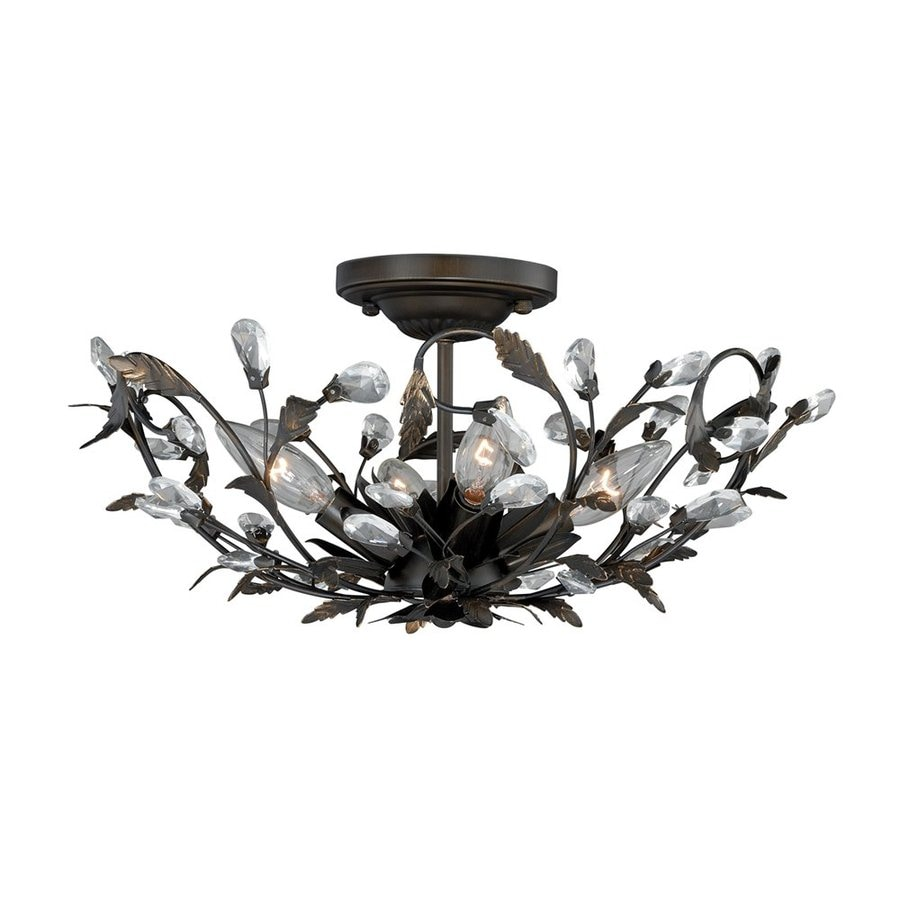 Cascadia Lighting Trellis 16-in W Architectural bronze No Shades Semi-Flush Mount Light