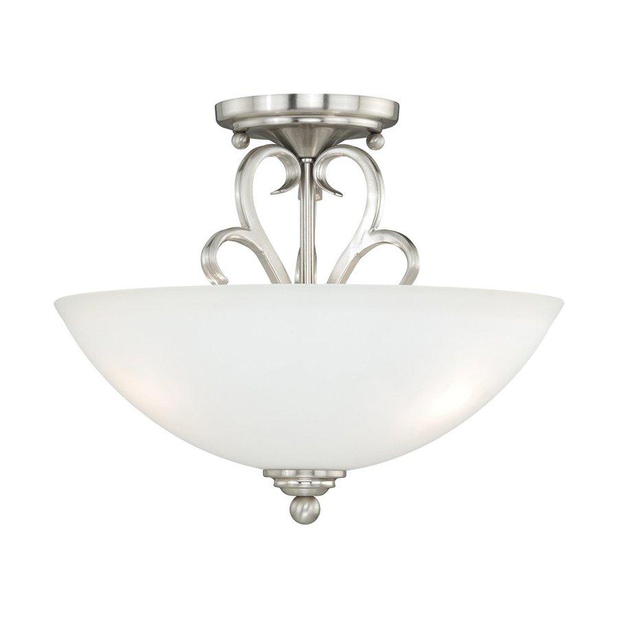 Cascadia Lighting Hartford 13-in W Satin nickel Frosted Glass Semi-Flush Mount Light