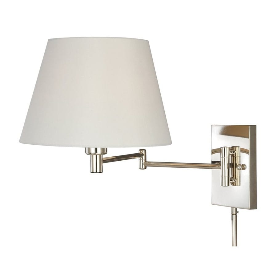 Cascadia Lighting 12 625 In H Polished Nickel Swing Arm Wall Mounted Lamp With Fabric Shade