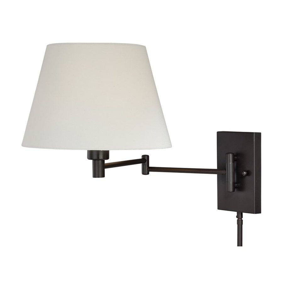 Wall Mounted Lamps With Swing Arms : Shop Cascadia Lighting 12.625-in H New Bronze Swing-Arm Wall-Mounted Lamp with Fabric Shade at ...