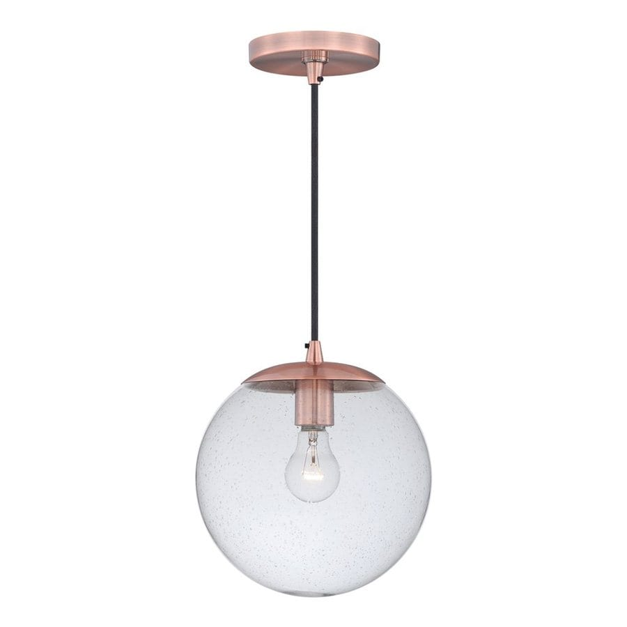 Cascadia Lighting 10-in Copper Industrial Single Seeded Glass Globe Pendant