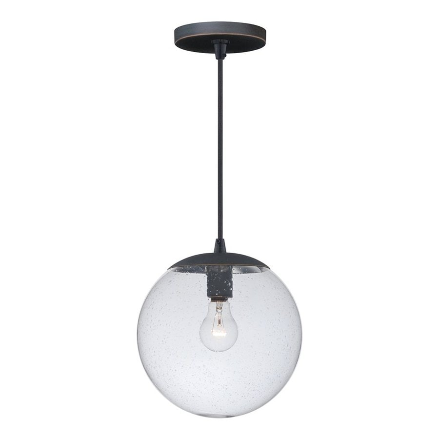 Cascadia Lighting 10-in Black Iron Industrial Single Seeded Glass Globe Pendant