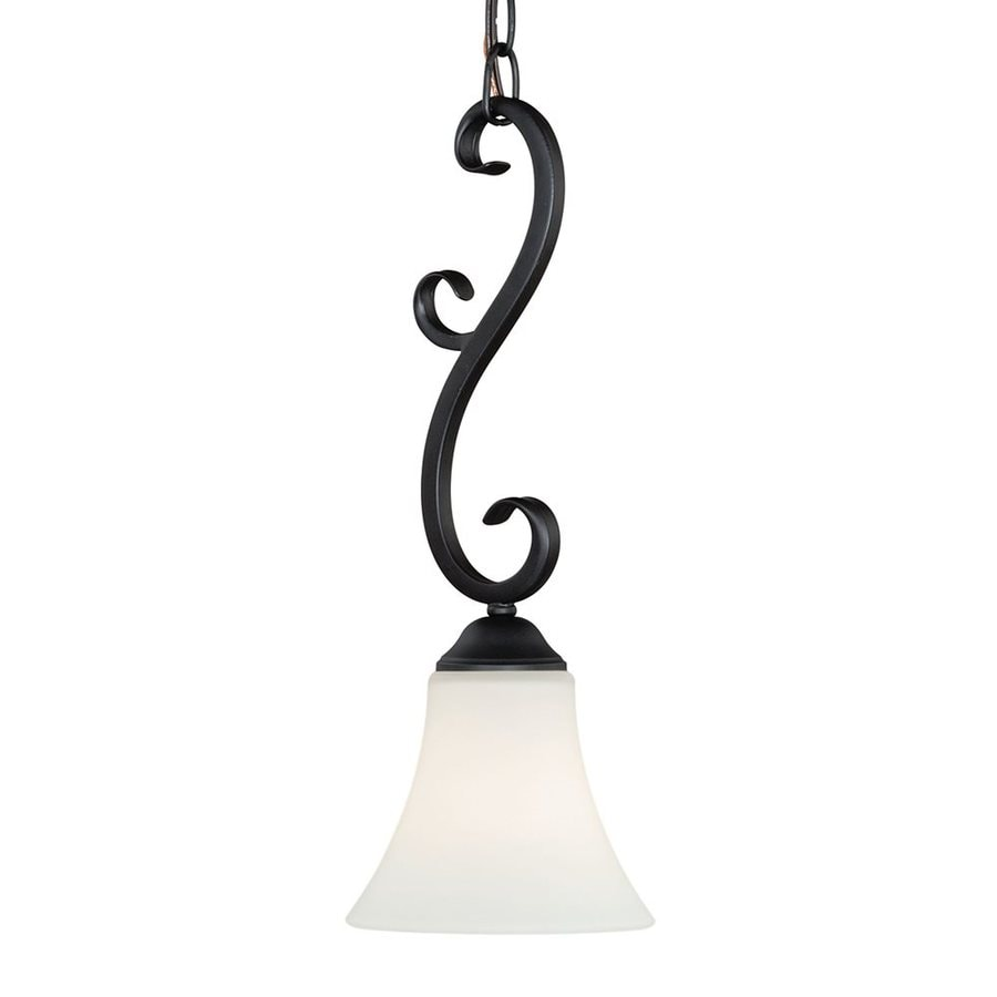Cascadia Lighting Belleville 5.5-in Oil Rubbed Bronze Vintage Mini Etched Glass Bell Pendant