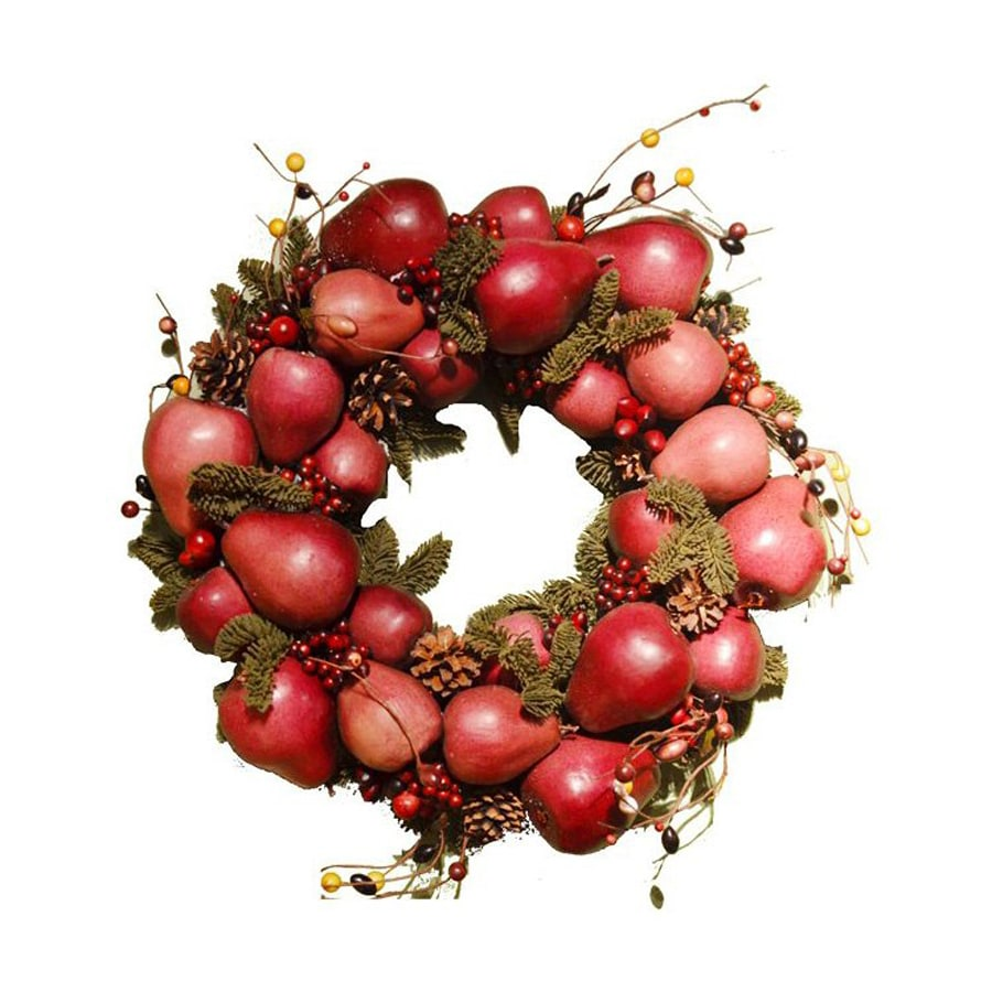 Fantastic Craft 20-in Burgundy Indoor Fruit Artificial Thanksgiving Wreath