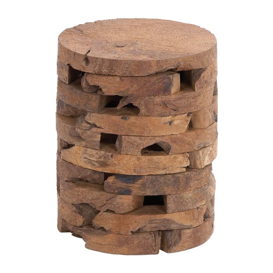 Woodland Imports 18-in Natural Teak Barrel Garden Stool