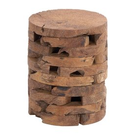 Woodland Imports 18 In Natural Teak Barrel Garden Stool