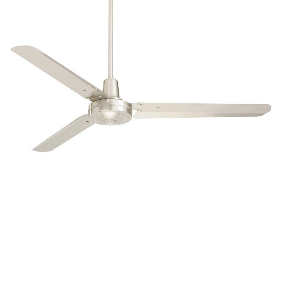 Cascadia Lighting 56-in Brushed Steel Downrod Mount Indoor Commercial Ceiling Fan (3-Blade)