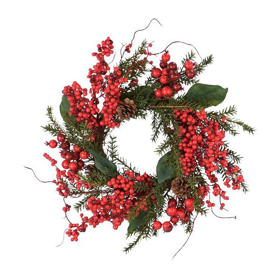 Fantastic Craft Cedar Berry And Leaf 18-in Outdoor Red Leaf Artificial Christmas Wreath
