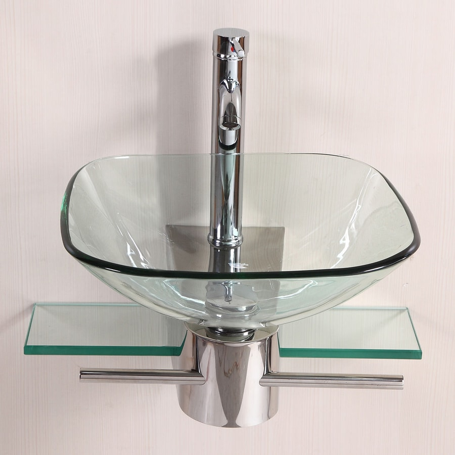 Kokols USA Polished Chrome Single Vessel Sink Bathroom Vanity with Glass Top (Common: 20-in x 21.5-in; Actual: 20-in x 21.5-in)