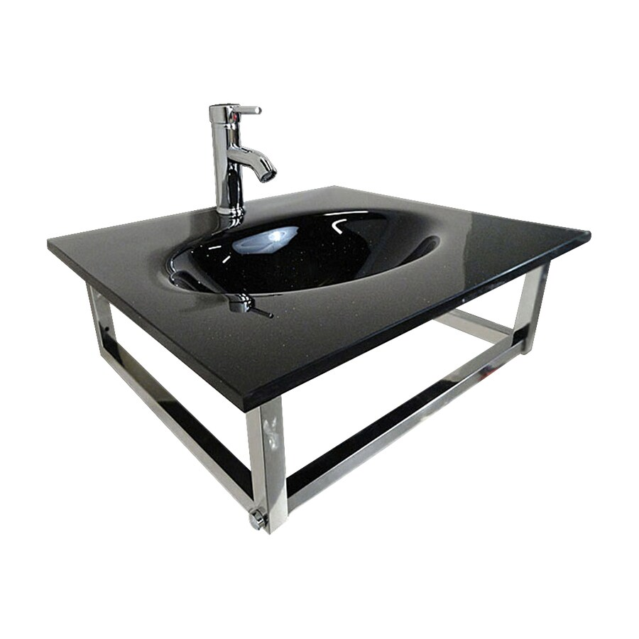 Kokols USA Black Integrated Single Sink Bathroom Vanity with Glass Top (Common: 24-in x 21-in; Actual: 24-in x 21-in)