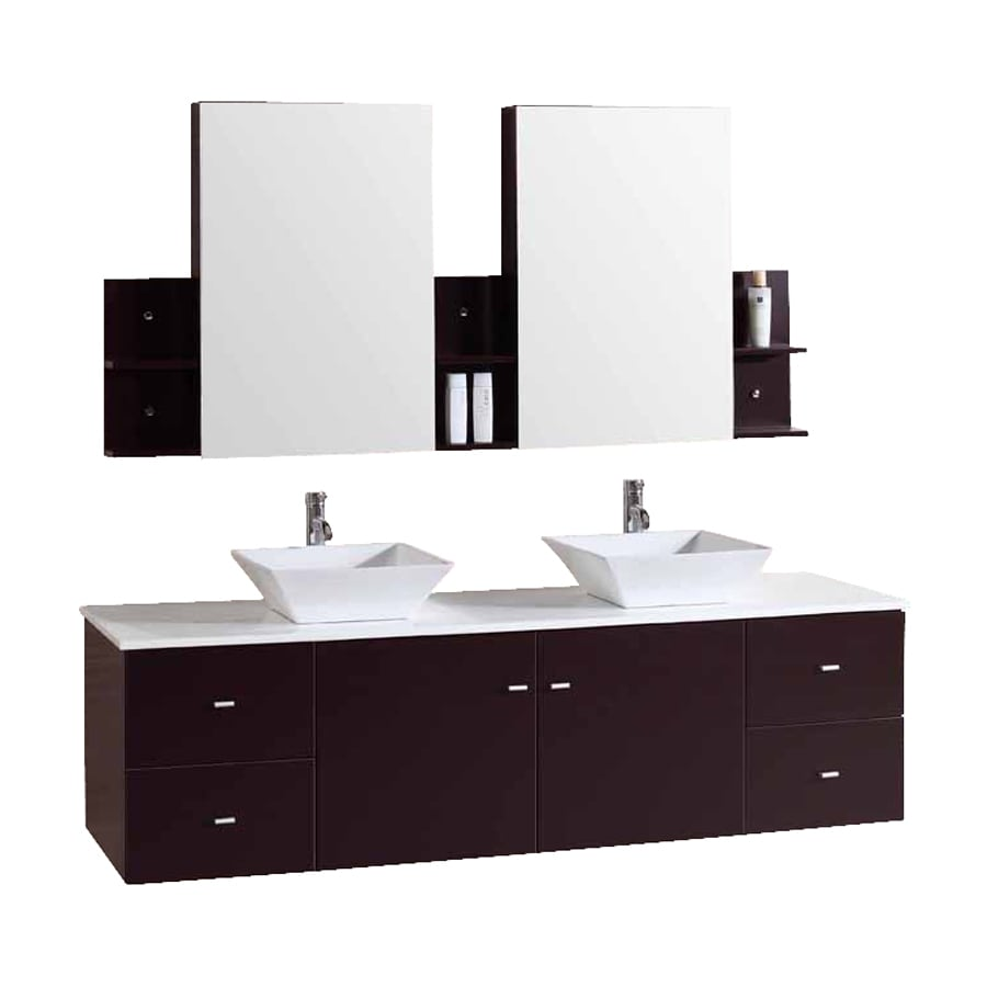Shop Kokols USA Espresso 72 In Vessel Double Sink Oak Bathroom Vanity With Cu