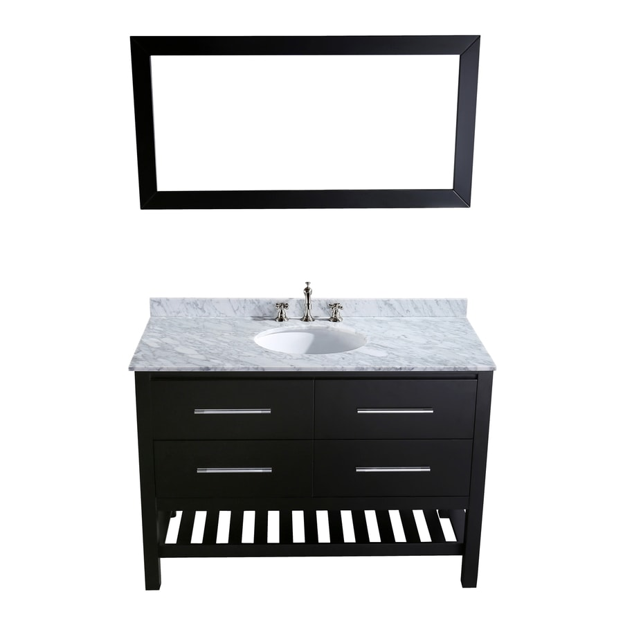 Bosconi Contemporary Black Undermount Single Sink Bathroom Vanity with Natural Marble Top (Common: 47-in x 22-in; Actual: 47-in x 22-in)