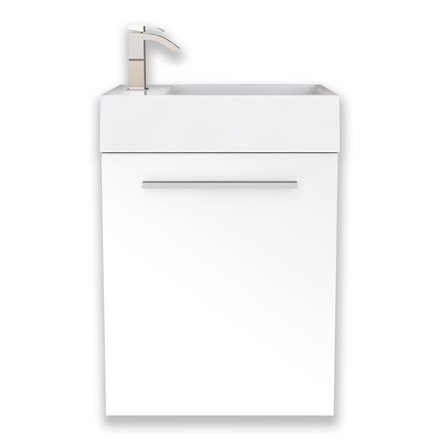 Cutler Kitchen & Bath Boutique White Integrated Single Sink Bathroom Vanity with Cultured Marble Top (Common: 18-in x 10-in; Actual: 18-in x 10-in)