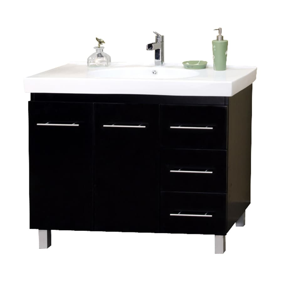 Bellaterra Home Black Integrated Single Sink Bathroom Vanity with Ceramic Top (Common: 39-in x 19-in; Actual: 39.4-in x 18.9-in)